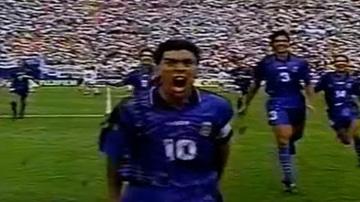 Maradona celebra un gol ante Grecia en el Mundial de 1994