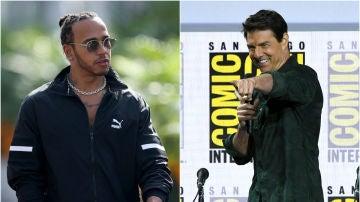 Lewis Hamilton y Tom Cruise
