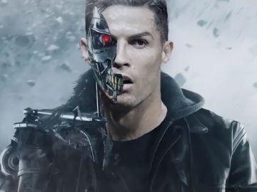 Cristiano Ronaldo caracterizado como Terminator