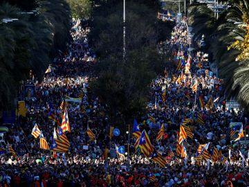 Manifestación contra la sentencia del procés en Barcelona