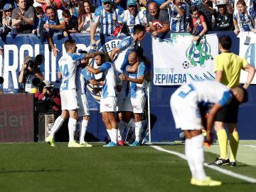 El Leganés celebra el gol de Braithwaite ante el Mallorca