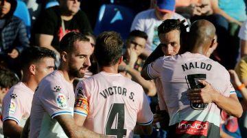 El Espanyol celebra el gol de la victoria ante el Levante