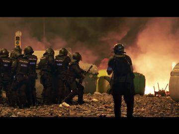 Imagen de la Policía en los disturbios de Cataluña