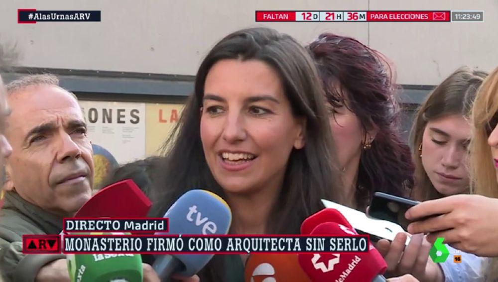 """Rocío Monasterio (Vox) evita responder sobre los planos que validó antes de ser arquitecta: """"En 20 años he firmado muchos"""""""