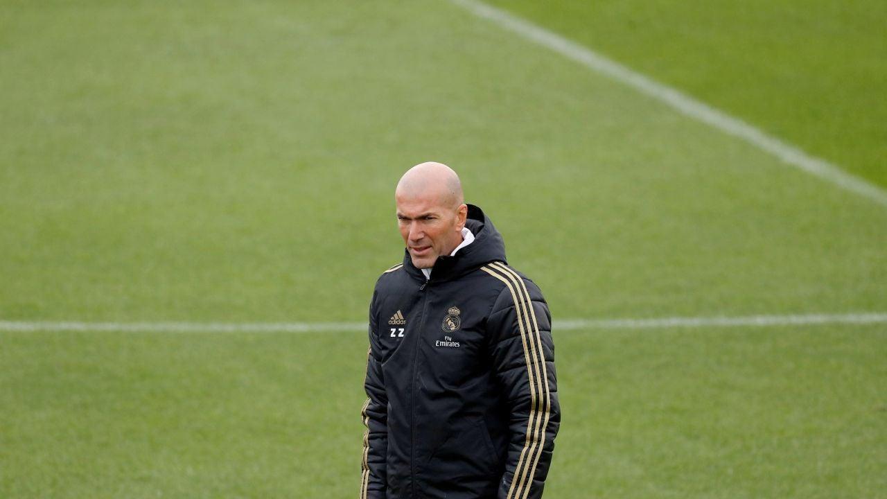 Zinedine Zidane, durante un entrenamiento del Real Madrid