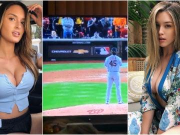 Las modelos Julia Rose y Lauren Summer enseñan sus pechos en un partido de béisbol