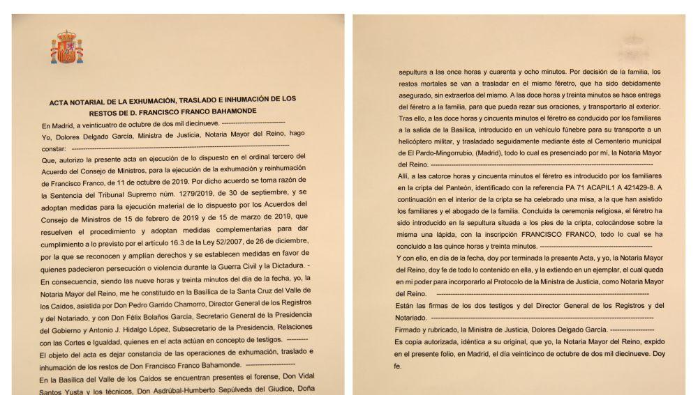 El acta de la exhumación de Franco.