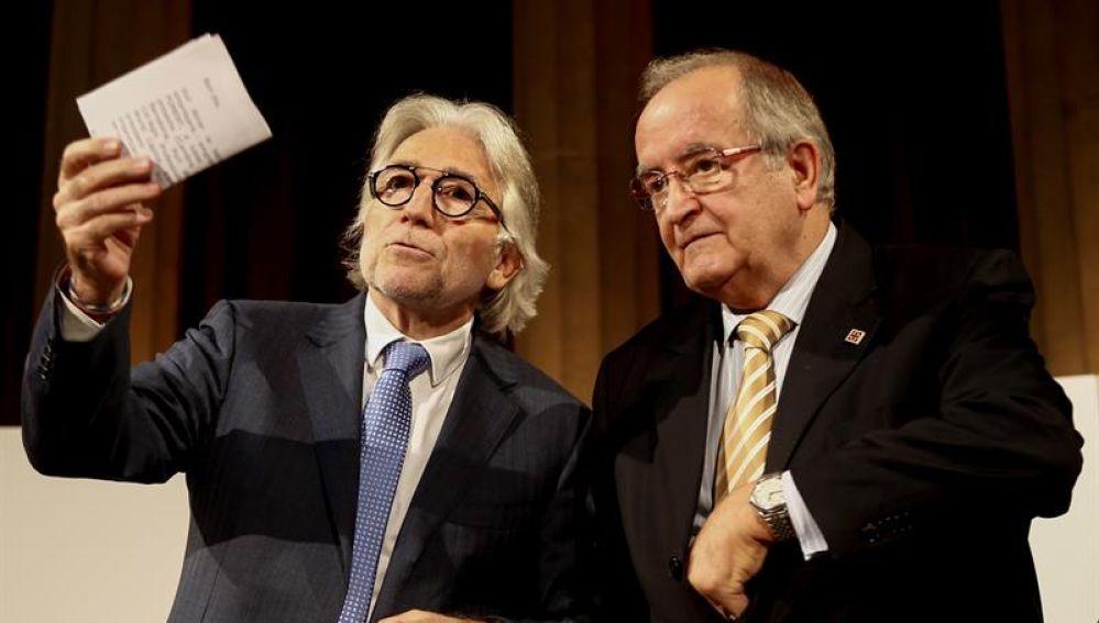 El presidente de Foment del Treball Josep Sánchez Llibre (i) y el de Pimec Josep González (d)