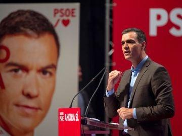 Pedro Sánchez, durante el acto de presentación de campaña