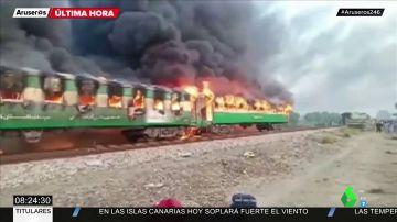 Al menos 65 muertos por la explosión de una bombona de gas en un tren de Pakistán