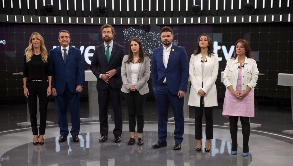 Los portavoces del PP, PSOE, Unidas Podemos, Ciudadanos, Vox, ERC y PNV en el debate electoral de RTVE