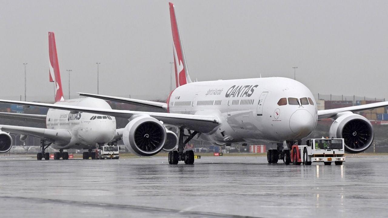 Imagen de los aviones Boeing 737 de la aerolínea Qantas