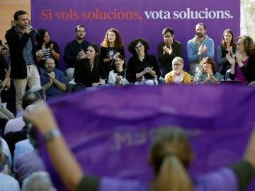 """Vista del acto de campaña de En Comú Podem con el título """"Mujeres, diálogo, soluciones"""""""