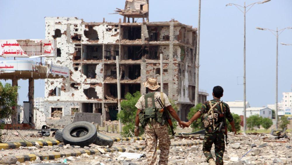 Un edificio destruido en Yemen