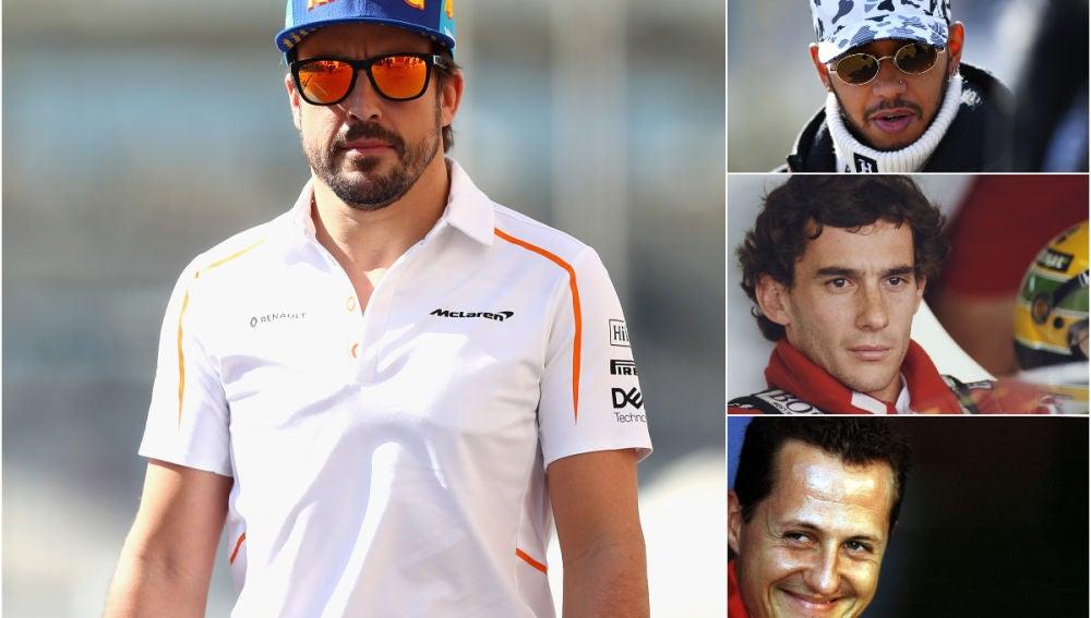 Alonso, Hamilton, Senna y Schumacher