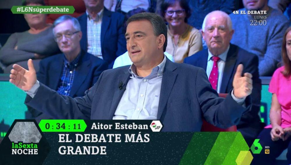 """La divertida confusión de Aitor Esteban en el debate de laSexta Noche: """"¿Pero esto es el minuto final? ¡No puede ser!"""""""