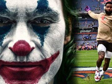 Joaquin Phoenix como 'Joker' y Odell Beckham Jr. con el rostro del personaje en sus zapatillas