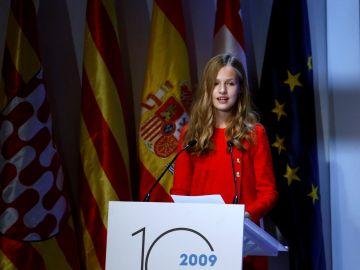 La princesa Leonor en el acto de entrega de los Premios Princesa de Girona