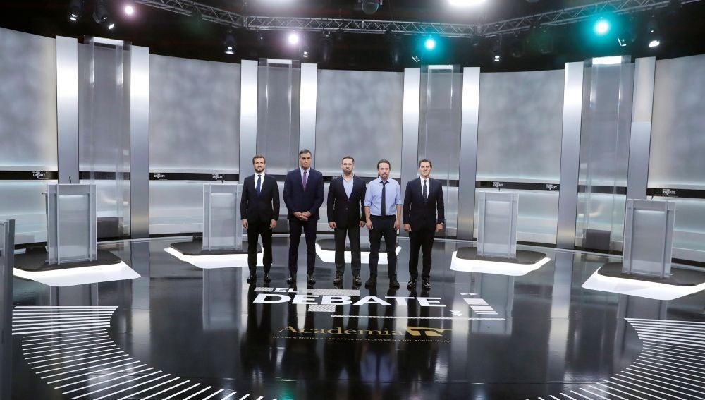 Los candidatos a la presidencia del Gobierno Pablo Casado, Pedro Sánchez, Santiago Abascal, Pablo Iglesias y Albert Rivera