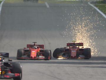 El choque entre los dos Ferrari en Brasil