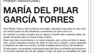 La esquela que la pareja de 'Pilarita' ha publicado en 'El País'