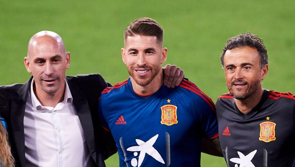 Luis Rubiales, Sergio Ramos y Luis Enrique