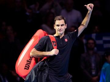 Roger Federer, en el torneo de maestros de Londres 2019