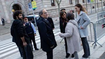 Quim Torra, president de la Generalitat, a su llegada al juicio por desobediencia