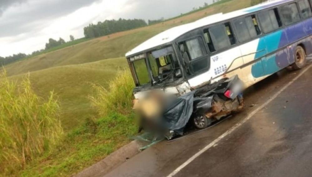 Imagen del autobús tras el fatídico accidente