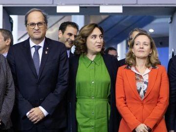 Quim Torra y Nadia Calviño coinciden en un acto marcado por los desencuentros entre la Generalitat y el Gobierno