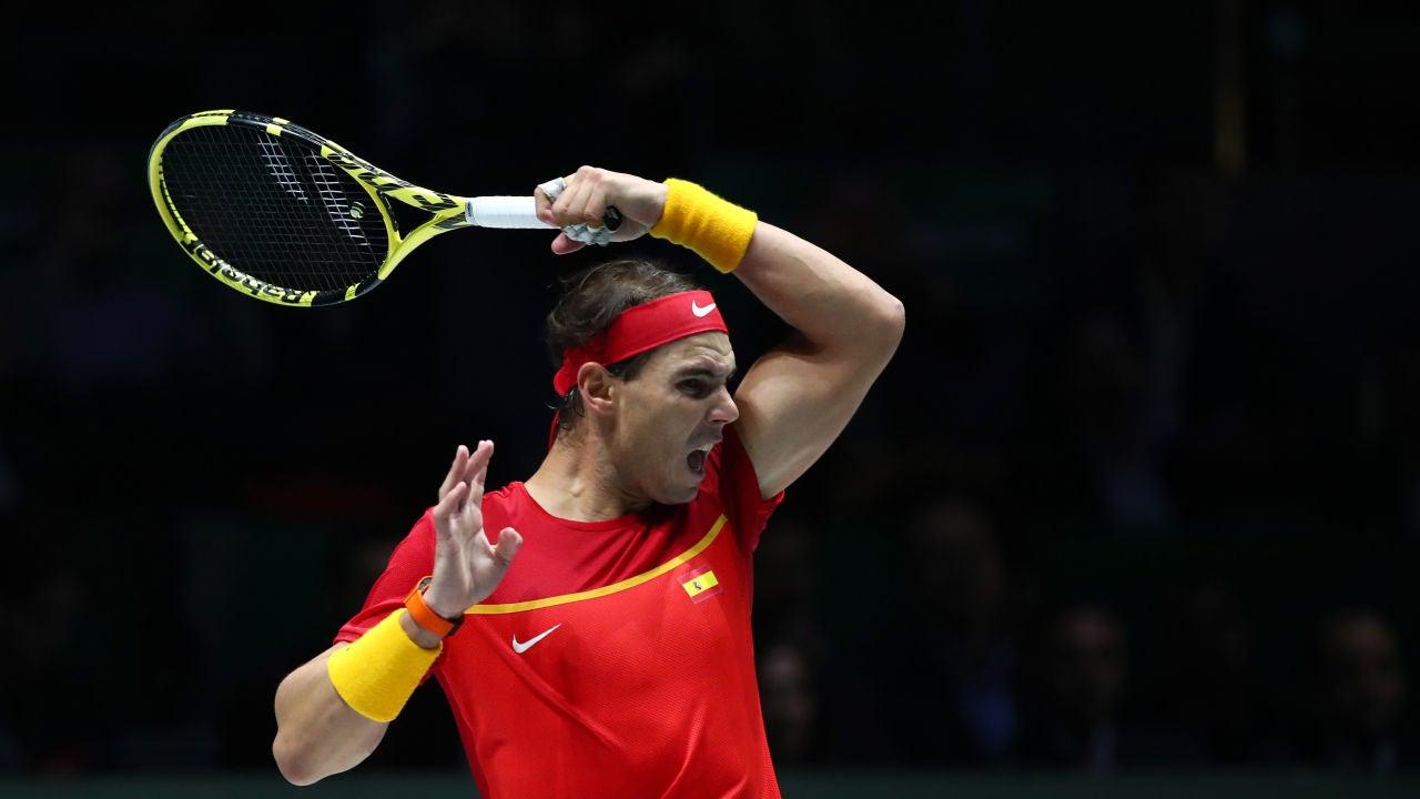 Rafa Nadal disputando el partido frente a Khachanov