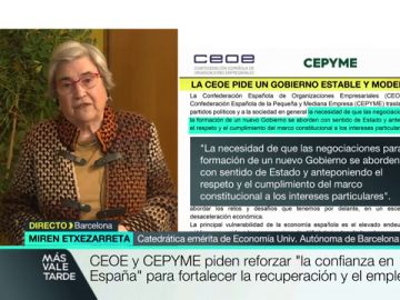 """La economista Miren Etxezarreta responde a la CEOE: """"Me hace gracia el miedo que demuestran a la mínima señal de progresismo"""""""