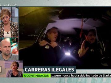 Carreras ilegales desde dentro de un coche de la Policía