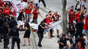 Momento de los disturbios en Río de Janeiro