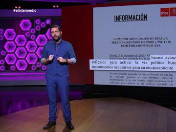Dani Mateo 'destapa' los borradores del comunicado del PSOE tras su reunión con ERC (con dedicatoria de Ábalos a Rufián incluida)