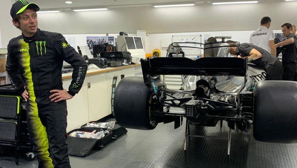 Valentino Rossi, con el Mercedes