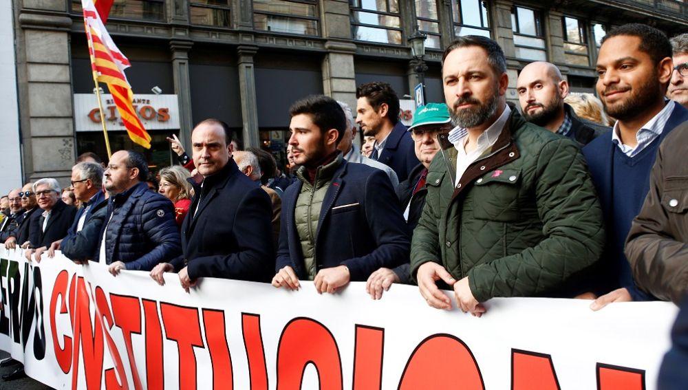 Santiago Abascal, en la manifestación de Barcelona
