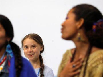 La activista sueca Greta Thunberg durante la Cumbre del Clima