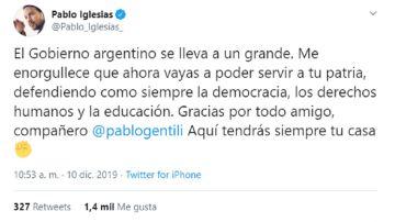 Pablo Iglesias se despide de Pablo Gentili