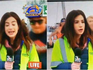 Una periodista recibe un azote en mitad de un directo