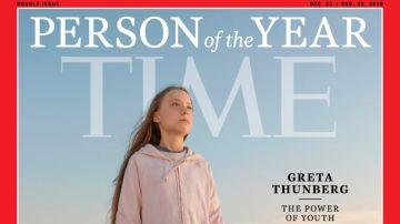 Portada de la revista Time en la que reconoce a Greta Thunberg como persona del año