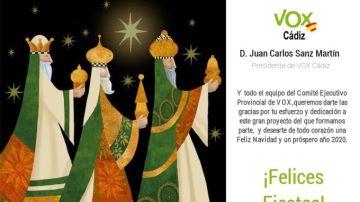 La polémica felicitación de Navidad atribuida a Vox