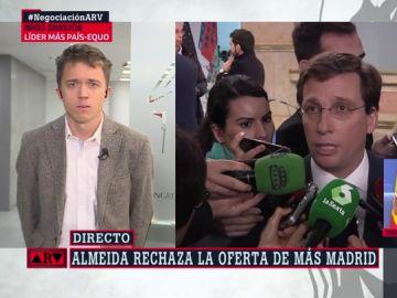 """Errejón responde a Martínez Almeida: """"Lo de este alcalde empieza a ser de juzgado de guardia"""""""