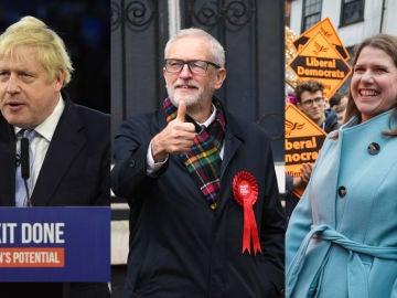 Boris Johnson, Jeremy Corbyn y Jo Swinson