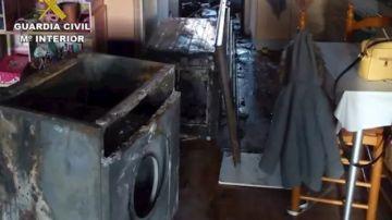 Situación en la que quedó la cocina tras el incendio