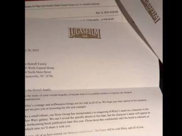 Fotograma de la carta que envió la productora a la familia para comunicarles su decisión.
