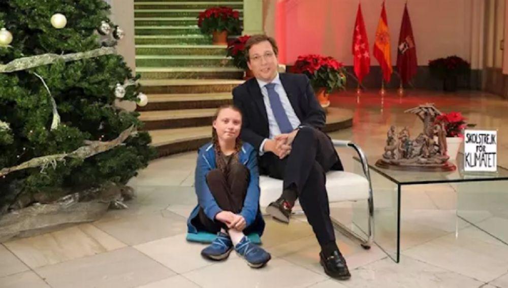 Imagen del montaje en el que aparecen Almeida y Greta Thunberg