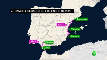 Imagen de tramos liberados de peajes en España a partir de Nochevieja