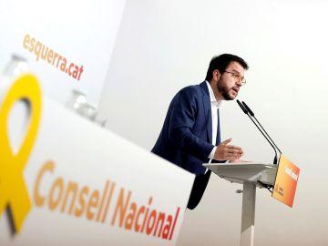 Pere Aragonès ante los medios tras el Consell Nacional de ERC