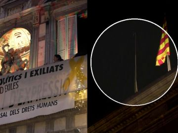 Arrian la bandera de España en la Generalitat y colocan el cartel por el que Torra fue inhabilitado